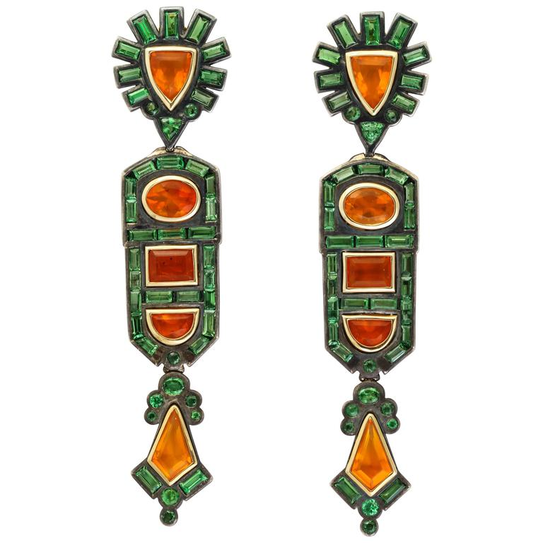 Marilyn Cooperman Tsavorite Garnet and Mexican Opal Earclips