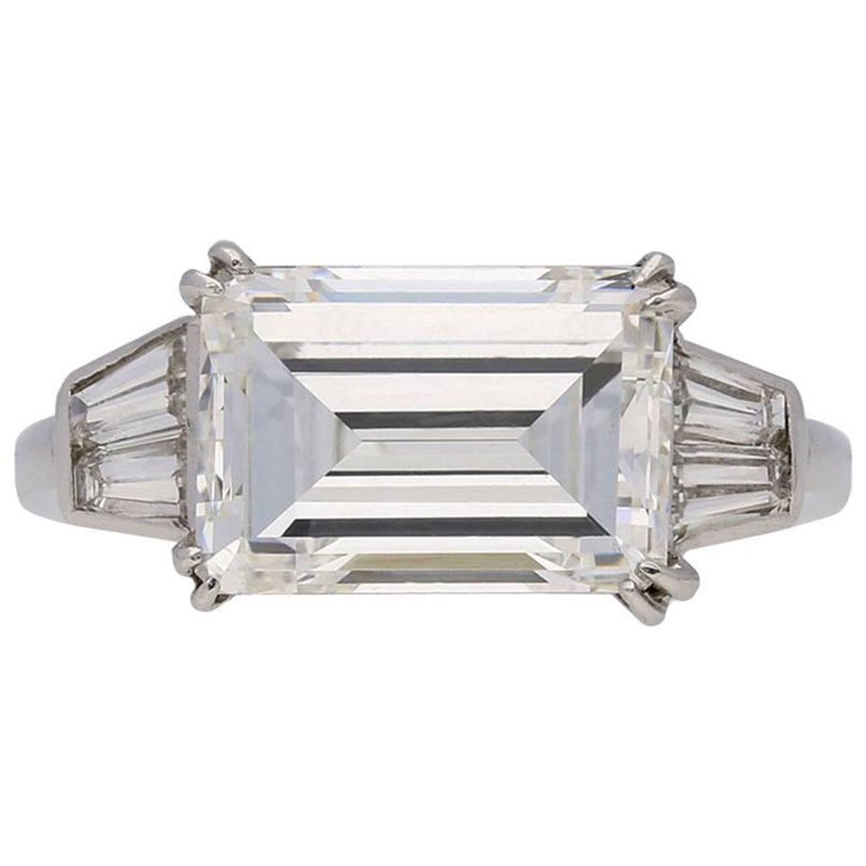 1970s Van Cleef Arpels Paris Diamond Emerald Cut Engagement Ring