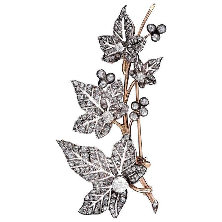 1870s French Diamond Ivy Leaves Double Spray Brooch For Sale