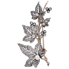 1870s French Diamond Ivy Leaves Double Spray Brooch