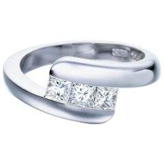 Contemporary Diamond Engagement Ring, Trilogy Style, 0.63Ct G Colour VS1 Clarity