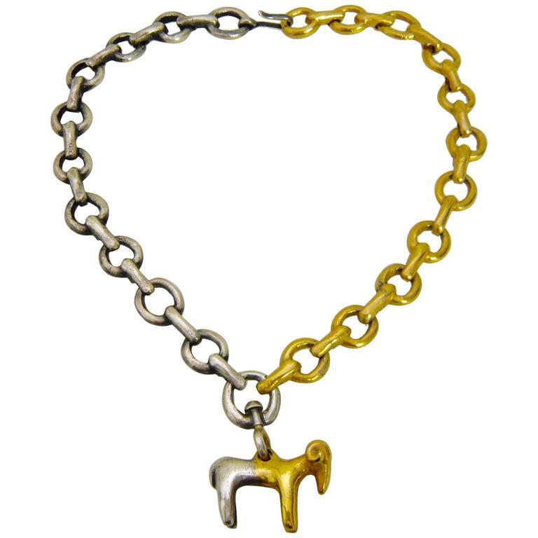 Line Vautrin's Bronze Necklace Le Belier 1950