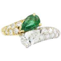Cartier Retro Emerald Diamond Gold Platinum Ring