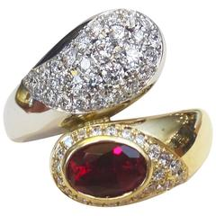 Michael Kneebone Ruby Pave Diamond Two Color Gold Bypass Ring
