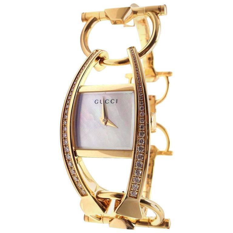 95dc726abdb Gucci Ladies Yellow Gold Diamond 123 Chiodo Wristwatch Ref YA123506 For Sale