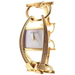 Gucci Ladies Yellow Gold Diamond 123 Chiodo Wristwatch Ref YA123506