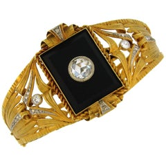 Victorian Black Onyx Diamond Yellow Gold Bangle Bracelet
