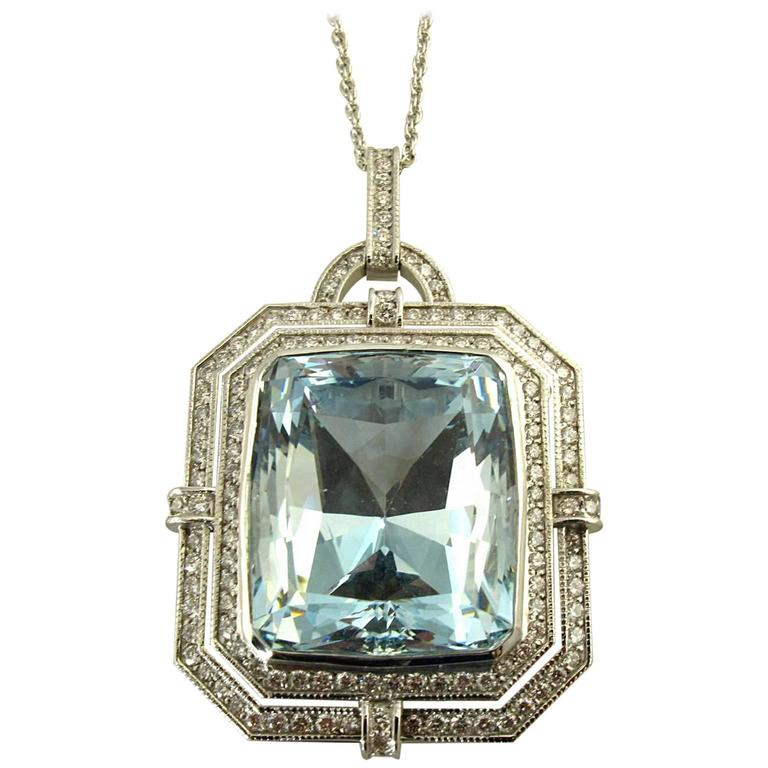 Aquamarine Diamond White Gold Pendant Necklace