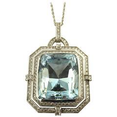Aquamarine Diamond White Gold Pendant Necklace