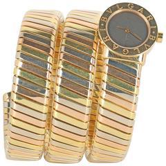 Bulgari Ladies Three Color Gold Tubogas Bracelet Wristwatch