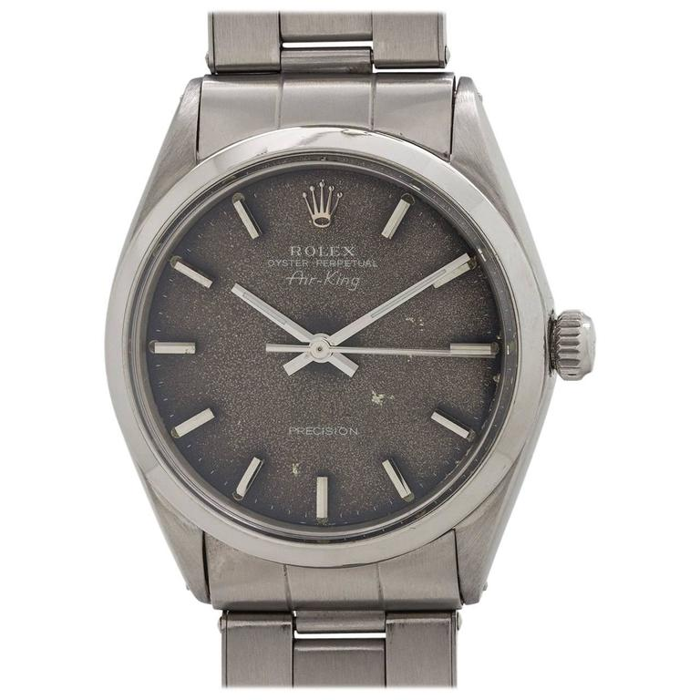 Rolex stainless steel Oyster Perpetual Airking Tropical Dial Wristwatch, c1968 For Sale