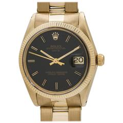 Rolex Yellow Gold Oyster Perpetual Date Army Green Wristwatch, circa 1966