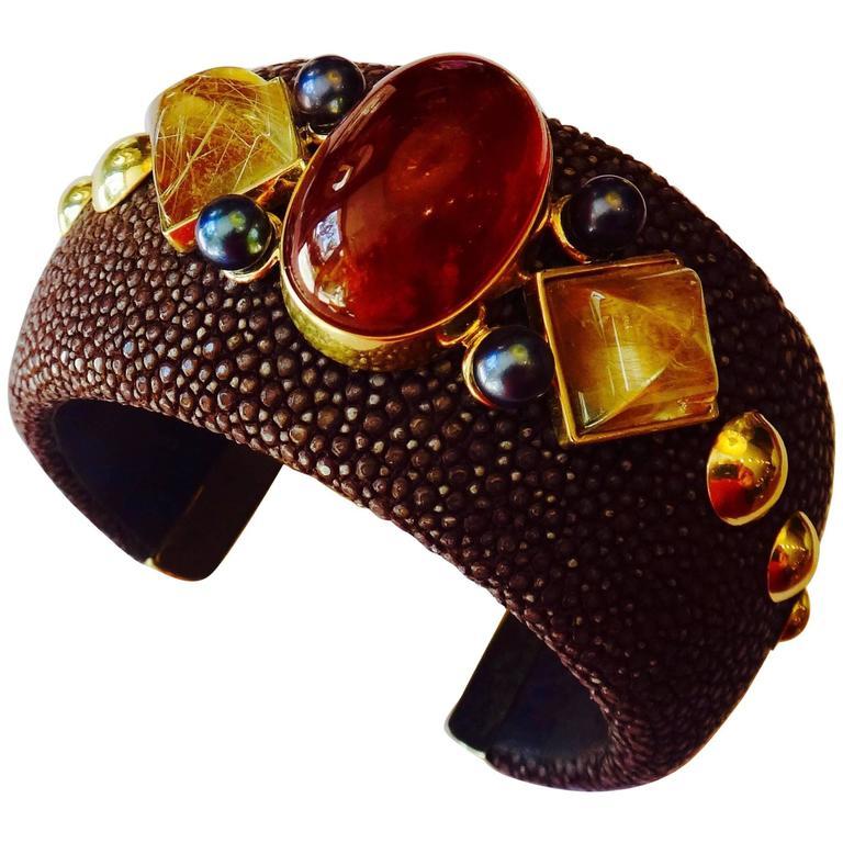 Michael Kneebone Hessenite Garnet Rutilated Quartz Pearl Stingray Cuff Bracelet