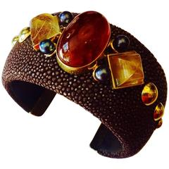 Michael Kneebone Hessenite Garnet Rutilated Quartz Pearl Stingray Cuff Bracelet