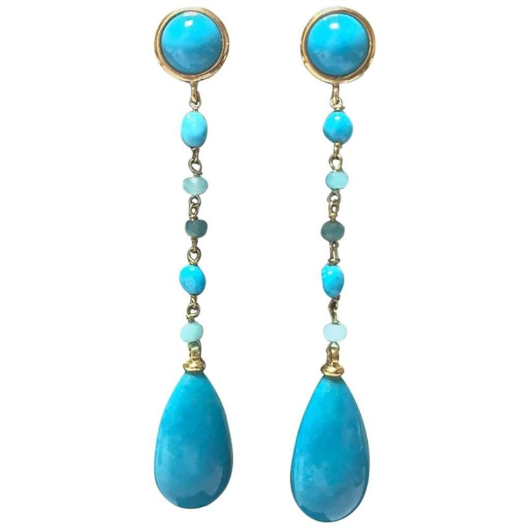 Turquoise and Amazonite Yellow Gold Earrings For Sale