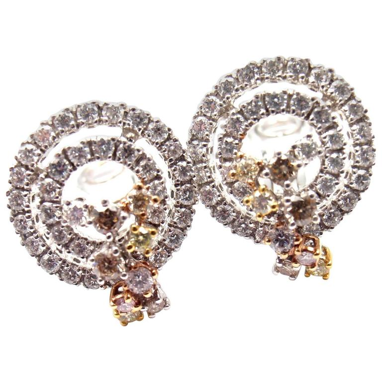 Damiani Sophia Loren Collection Diamond White Gold Earrings For