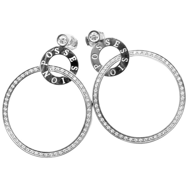Piaget Possession Diamond Large White Gold Hoop Earrings For Sale