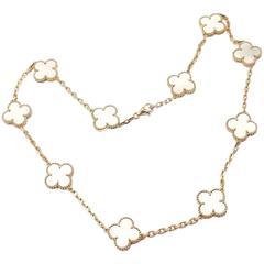 Van Cleef & Arpels Vintage Alhambra Mother-of-Pearl Ten Motif Gold Necklace