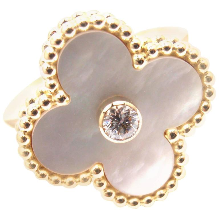Van Cleef & Arpels Vintage Alhambra Diamond Mother-of-Pearl Yellow Gold Ring