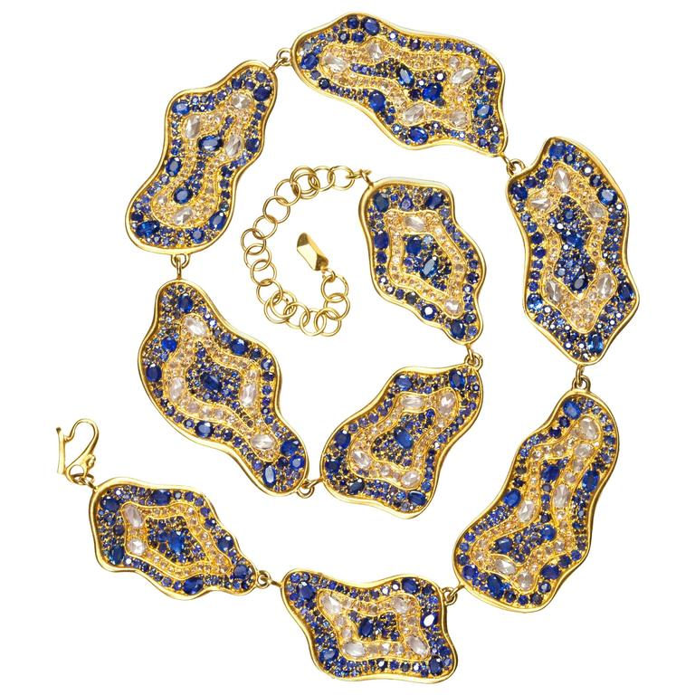 Lauren Harper 51.47 Carat Rose Cut Sapphire Gold Statement Necklace