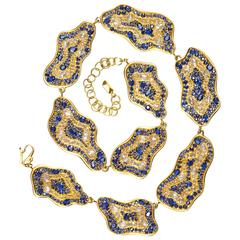 Lauren Harper 51.47 Carat Rose Cut Sapphire Gold Statement Necklace