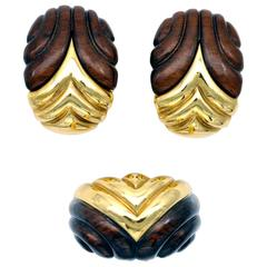 Wood and Yellow Gold Ring and Earrings Set