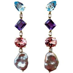 Michael Kneebone Blue Topaz Amethyst Pink Topaz Keshi Pearl Dangle Earrings