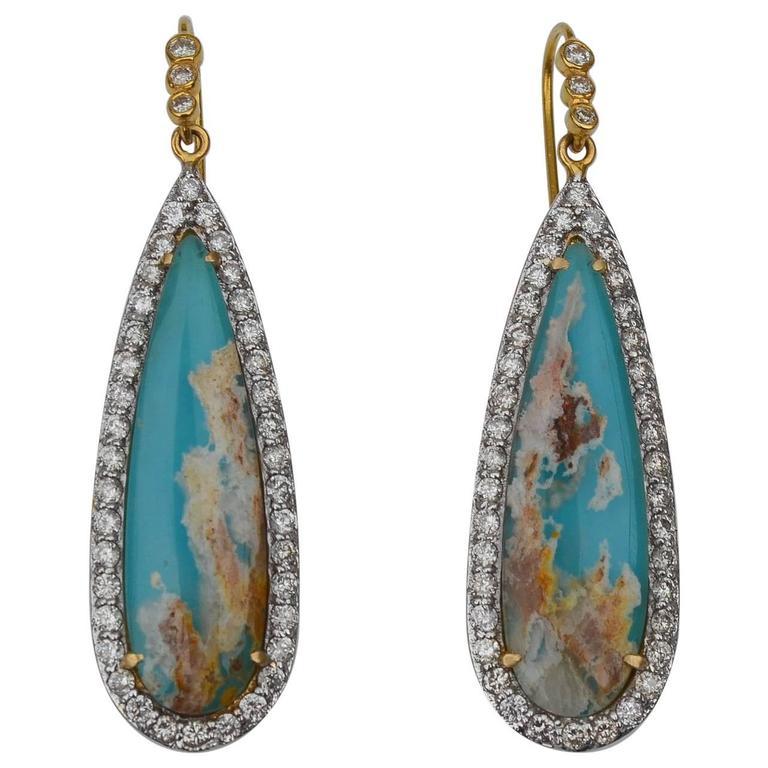 Lauren Harper Collection Sea Agate Turquoise Diamond Gold Drop Earrings