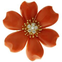 Natural Red Coral Diamond Yellow Gold Flower Brooch Pendant