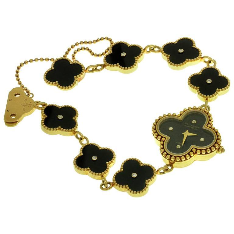 Van Cleef & Arpels Alhambra Onyx Diamond Yellow Gold Watch For Sale