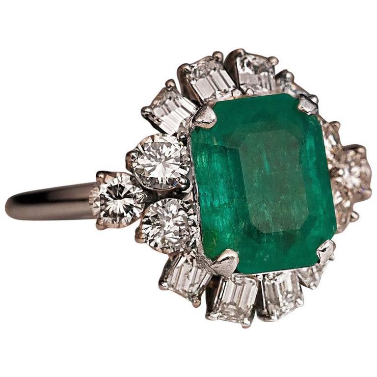 Mid-Century Emerald Diamond Platinum Ring