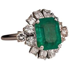 Mid-Century Emerald Diamond Platinum Ring