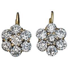Antique Russian Old European Cut Diamond Cluster Earrings