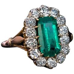 Antique Emerald Diamond Gold Cluster Ring