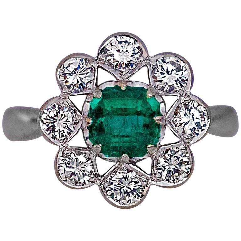 Emerald Diamond White Gold Engagement Ring