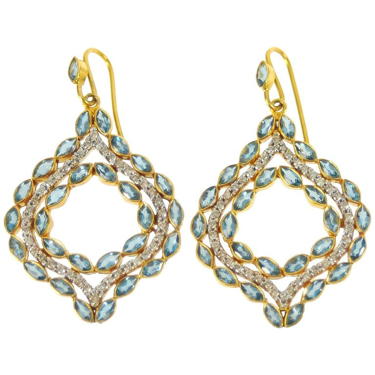 Lauren Harper .76 Carat Diamonds Aquamarine Gold Drop Earrings
