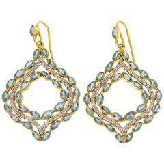 Lauren Harper .76 Carat Diamonds Aquamarine Gold Drop Earrings