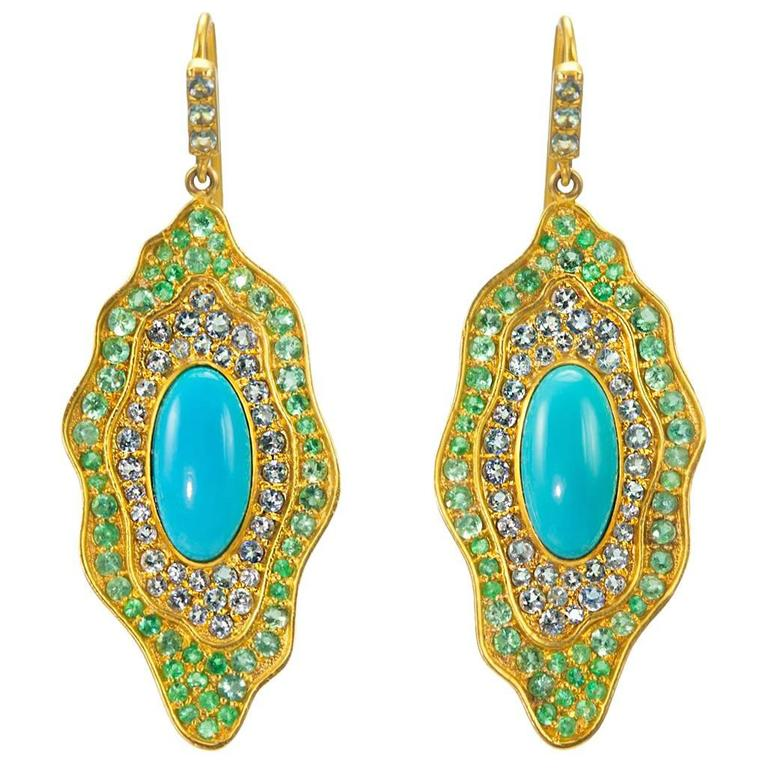 Sleeping Beauty Turquoise Aquamarine Emerald Gold Organic Earrings 1