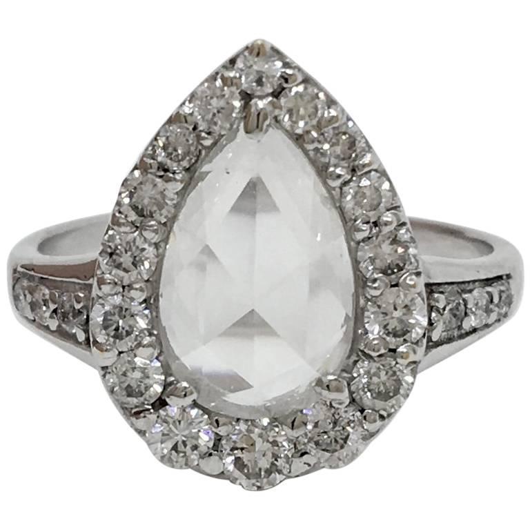 Lauren Harper 1.36 Carat Rose Cut Diamonds, 18 Karat White Gold Ring
