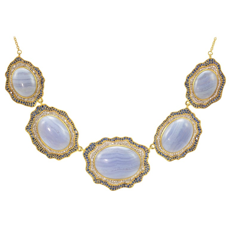 Lauren Harper Blue Agate, Sapphire, Gold Statement Necklace For Sale