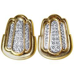 David Webb Diamond Gold Platinum Earclips