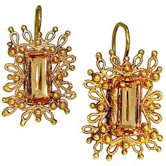 Antique Precious Topaz Cannetille Gold Earrings