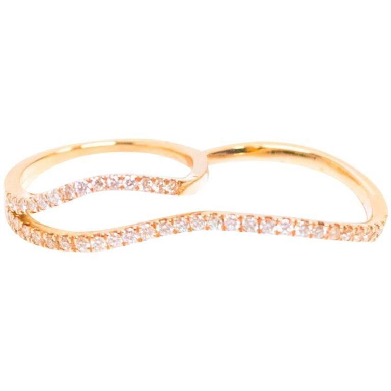 Bespoke Rose Gold Diamond Two Finger Ring