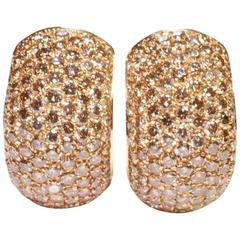 Champagne Diamond Hooped Gold Earrings