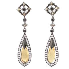 Theo Fennell Black and Silver Earrings with Yellow Sapphire Pendant