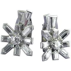 Diamond White Gold Sputnik Earrings, circa 1958