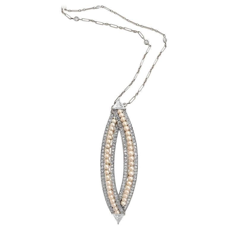 Victorian 4.76 Carat Pearl Diamond Gold Convertible Hair Clip Pendant 2