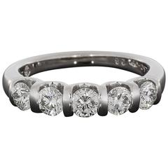 Leo Diamond Gold Five-Round Diamond Bar Set Wedding Band Anniversary Ring