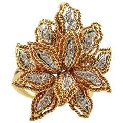 1970s Vourakis Diamond Yellow Gold Floral Design Ring