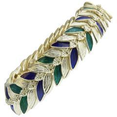 1970s Green and Navy Enamel Gold Leaf Bracelet